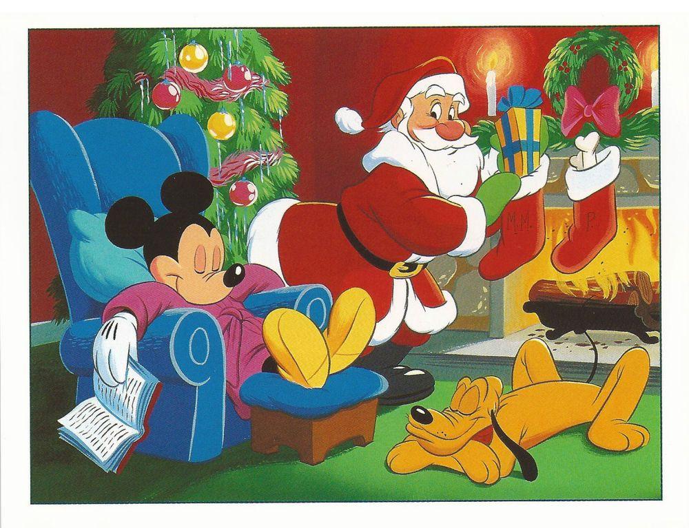 UNUSED vintage Disney Christmas Card Mickey & Pluto with Santa Card ...