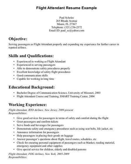 Pin by Job Resume on Job Resume Samples Pinterest Flight - air flight attendant sample resume