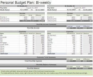 free biweekly budget excel template financial corner pinterest