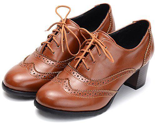 Odema Womens PU Leather Oxfords Wingtip Lace up Mi