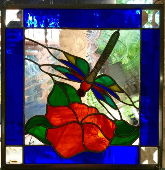 Dragonfly N Magnolia Stained Glass Window Panel Stained Glass Windows Stained Glass Window Panel Custom Stained Glass