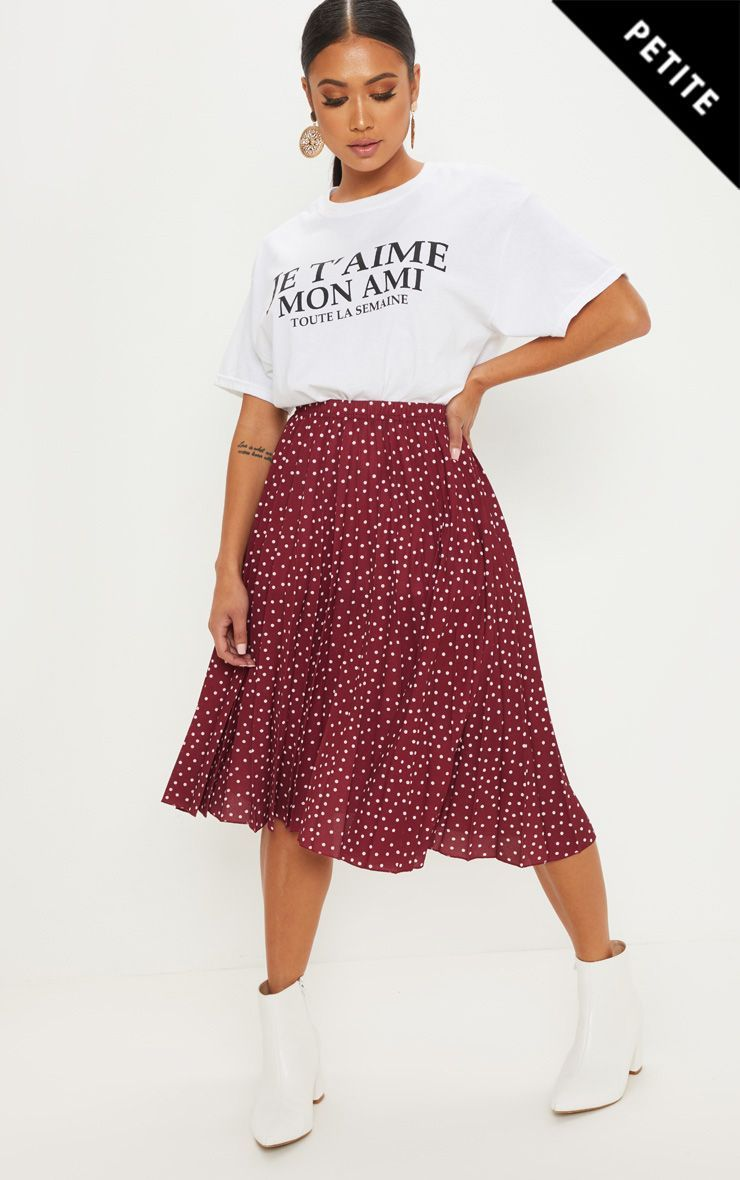 f8748155cd4a Petite Burgundy Polka Dot Pleated Midi Skirt in 2019 | Products ...