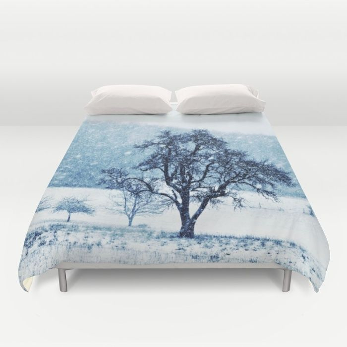 Old pear tree (cool edition) Duvet Cover  Same pic like here: https://society6.com/product/old-pear-tree-on-a-wintery-meadow_print#1=45 but toned in blue to make it a bit cooler  This single pear tree is standing on a mountain meadow which is used as a pasture for sheep. Nature, season,  winter, snow, snowflakes, grassland, lined trees, mountain, landscape,white