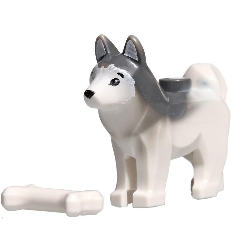 Authentic LEGO MINIFIGURE HUSKY DOG w BONE CITY ANIMAL PUPPY PET ARCTIC 60036