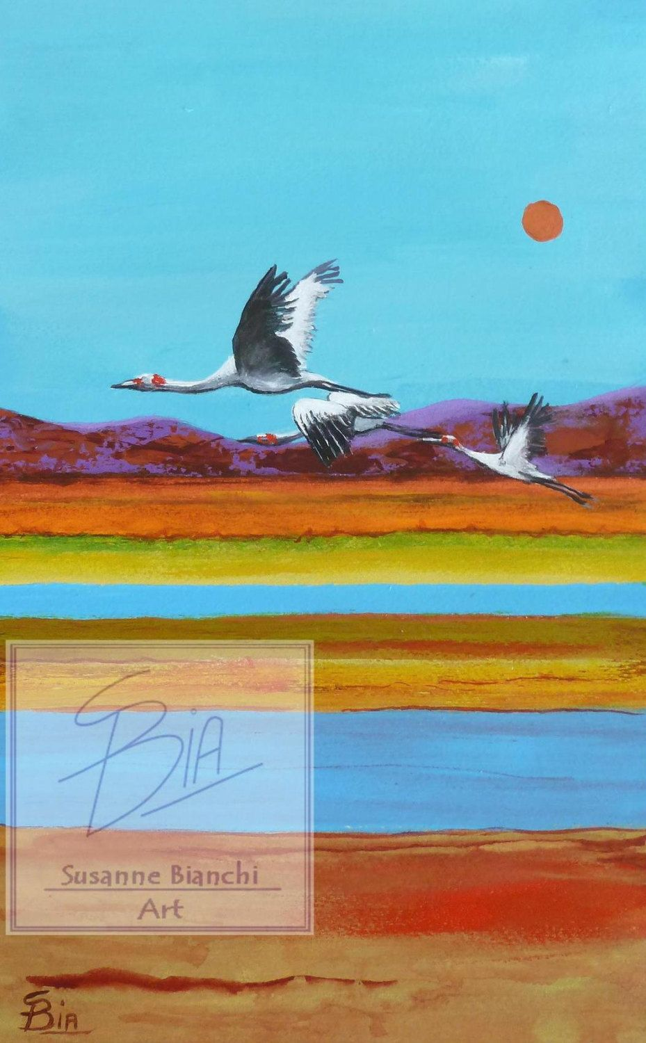Flying Brolgas, Australian outback, Peaceful Poster, Print of ...