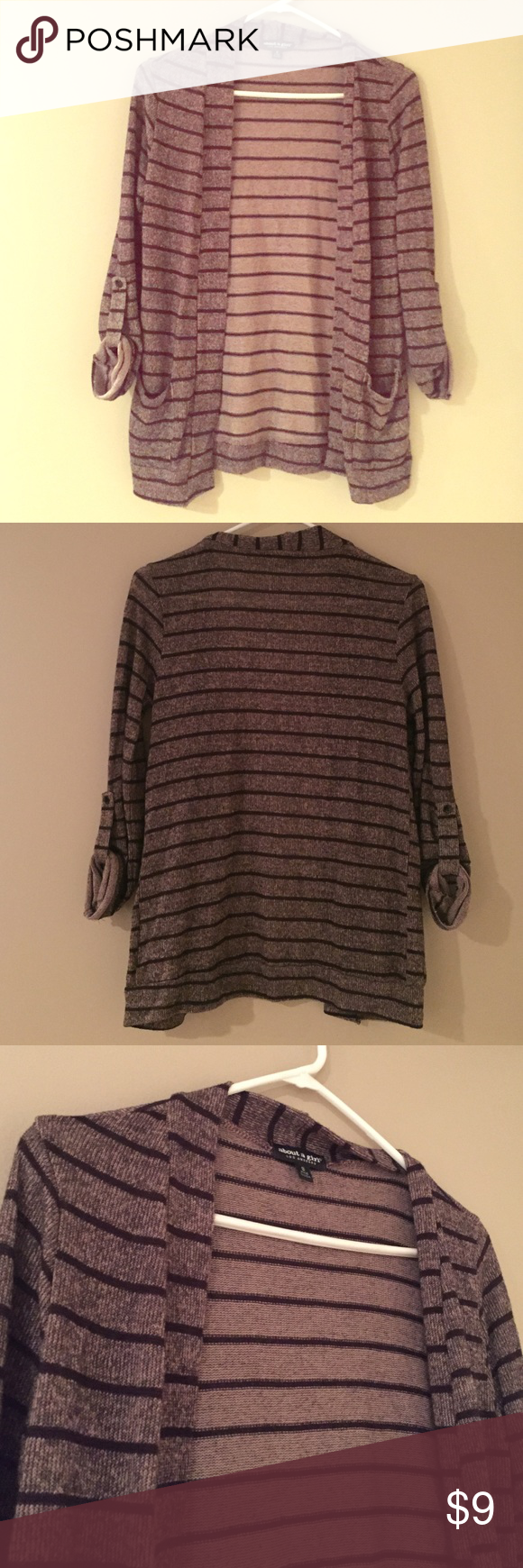 [Brown and black stripe cardigan] Super cute and light weight quarter sleeve sweater. about a girl  Sweaters