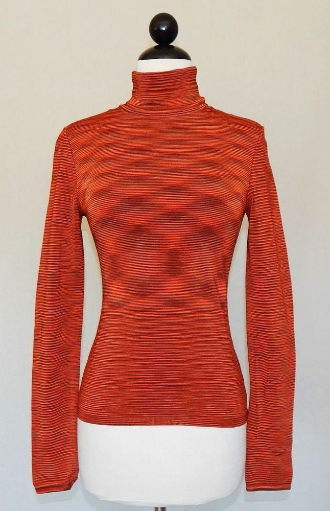 cb7fb97169 MISSONI Orange Brown Olive Space Dye Stretch Knit Turtleneck Sweater Size 42    6  Missoni  TurtleneckMock