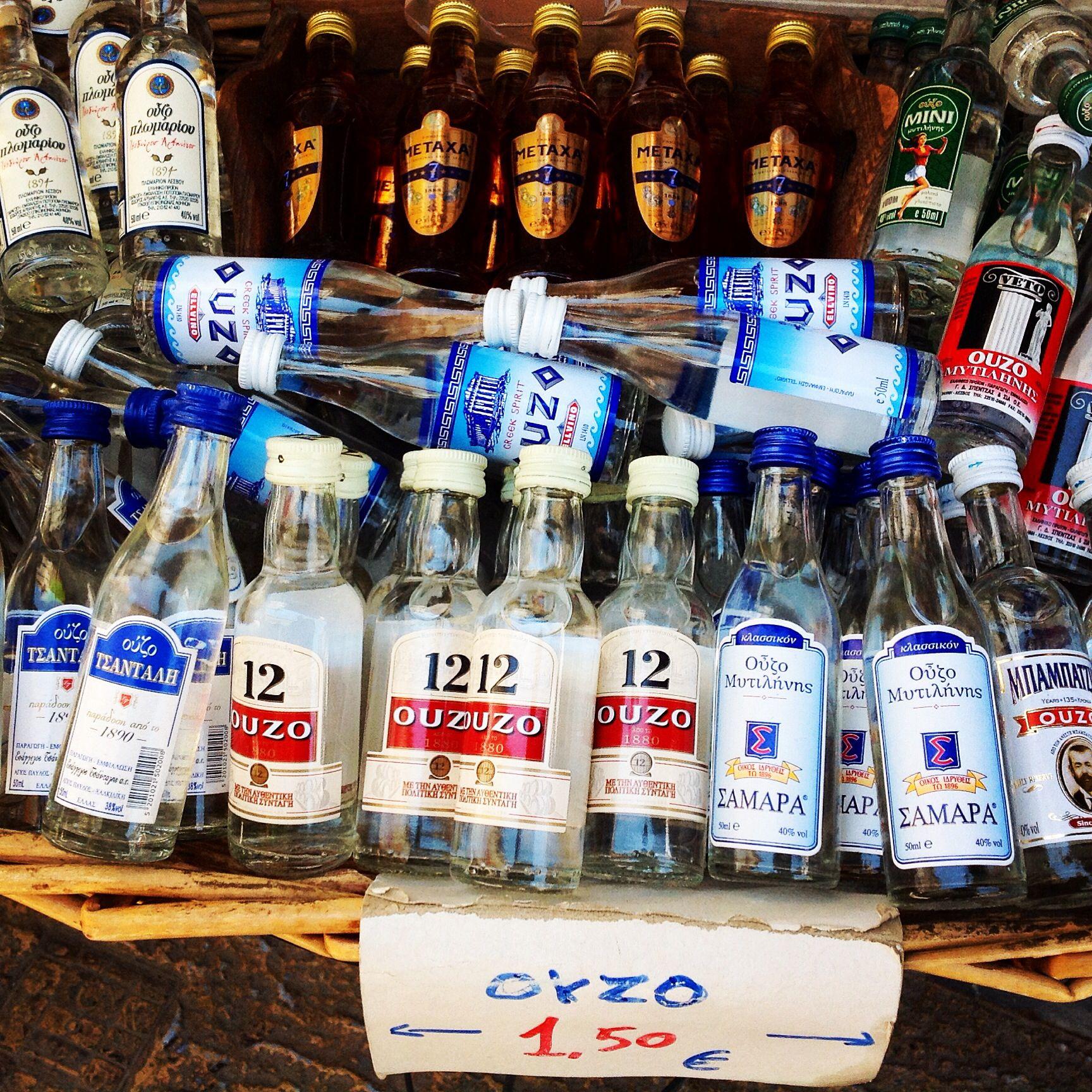 Pieniä ouzo-pulloja (aniksenmakuinen aperatiivi) matkamuistoksi. / Little Ouzo (anise-flavoured aperitif) bottles for souveniers. #ούζο #ouzo #greece