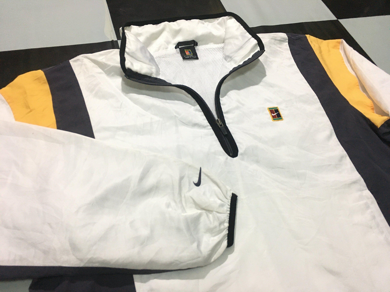 Vintage Nike Tennis Half Zip Jacket Windbreaker Pullover Multi Color Nike Tennis Court Logo Size L Good Condition By Varsity Bomber Jacket Jackets Zip Jackets