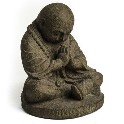 My Spirit Garden Volcanic Ash Bowing Monk Statue Color: | Products ...