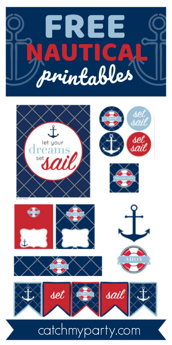 Download These Free Nautical Birthday and Baby Shower Printables! | Catch My Party