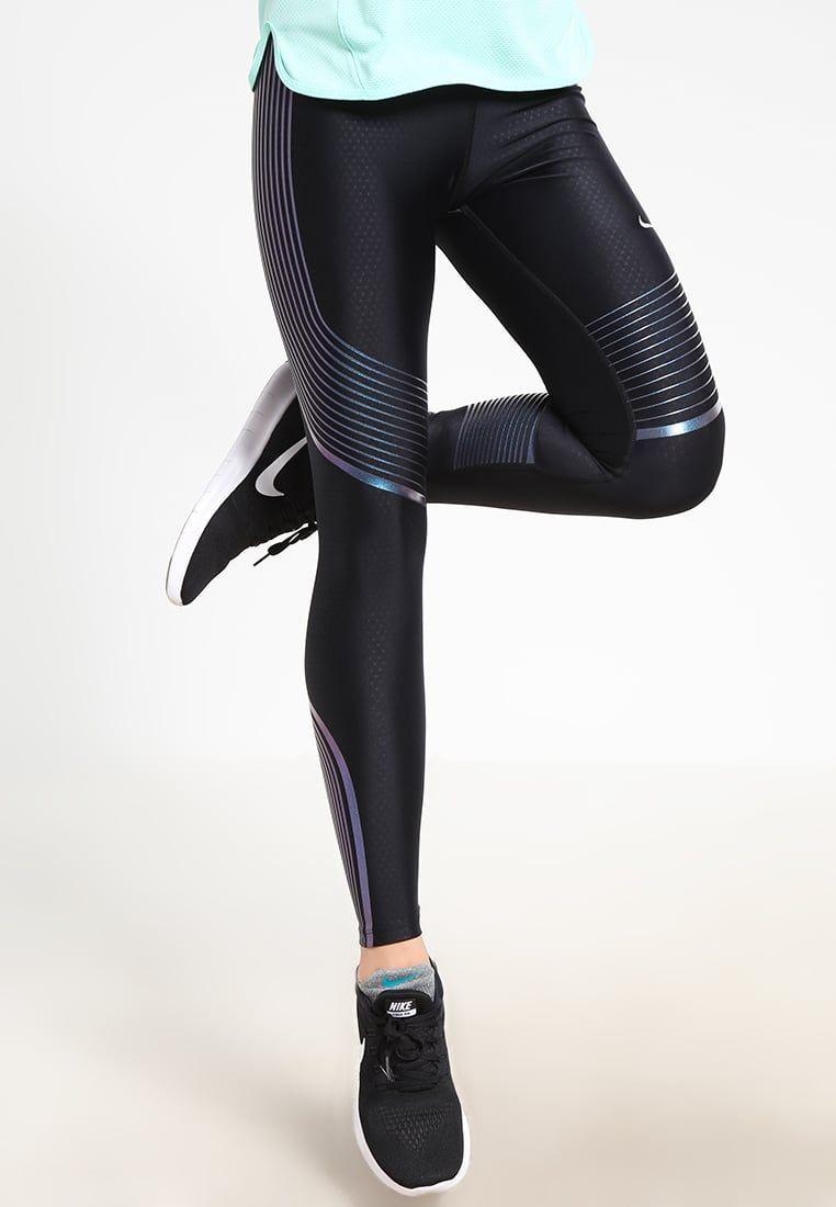 ef584a3ab866d1 Nike Performance POWER SPEED - Tights - black iridescent reflective silver  - Zalando.de