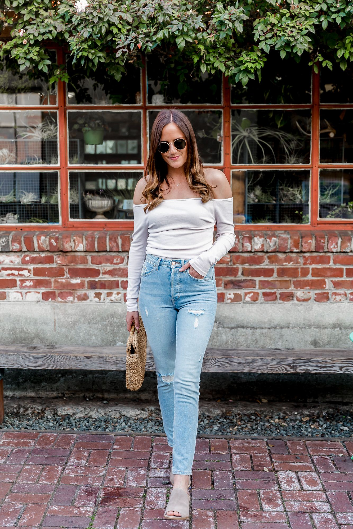 b2f433d9ddd fitted off shoulder top, spring style, spring outfit ideas, cream top and  lightwash jeans outfit, white off shoulder top outfit, taupe mules outfit,  ...