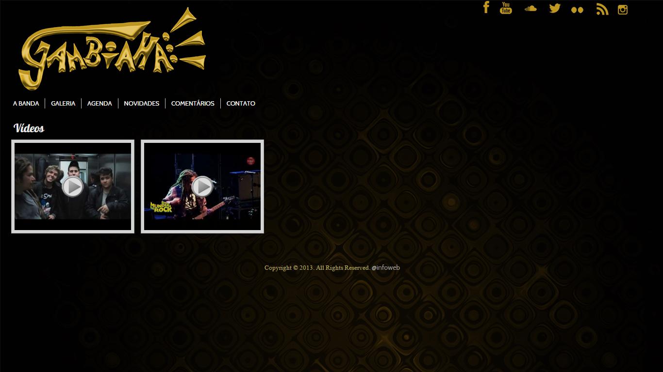 Página de vídeos do site da Banda Gambiaha