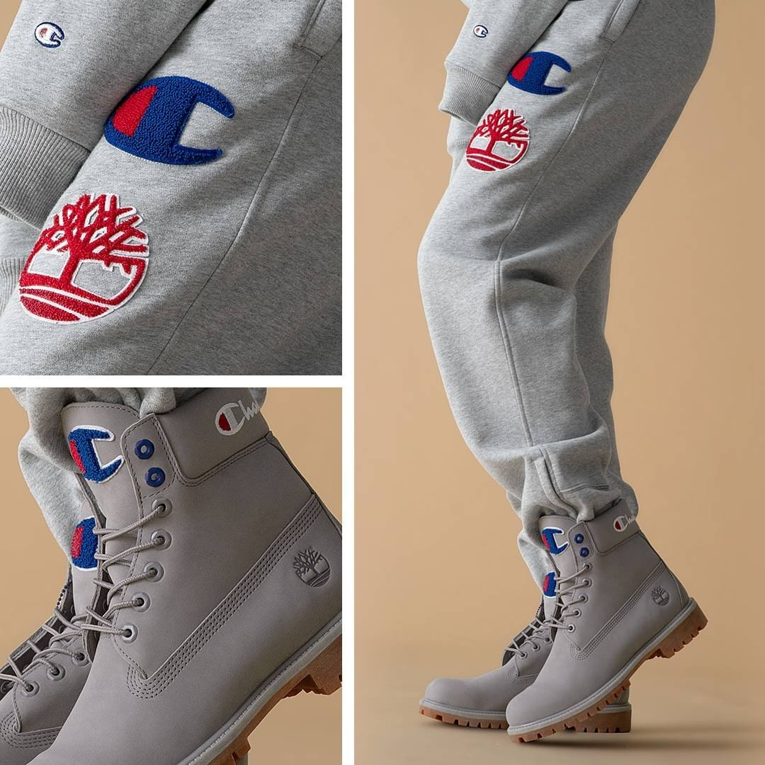 96aded5d48f41  timberland x  champion are back with a new  Grey Sport  colorway .  Available on 11 26. Are you grabbing a pair   Timberland  Champion