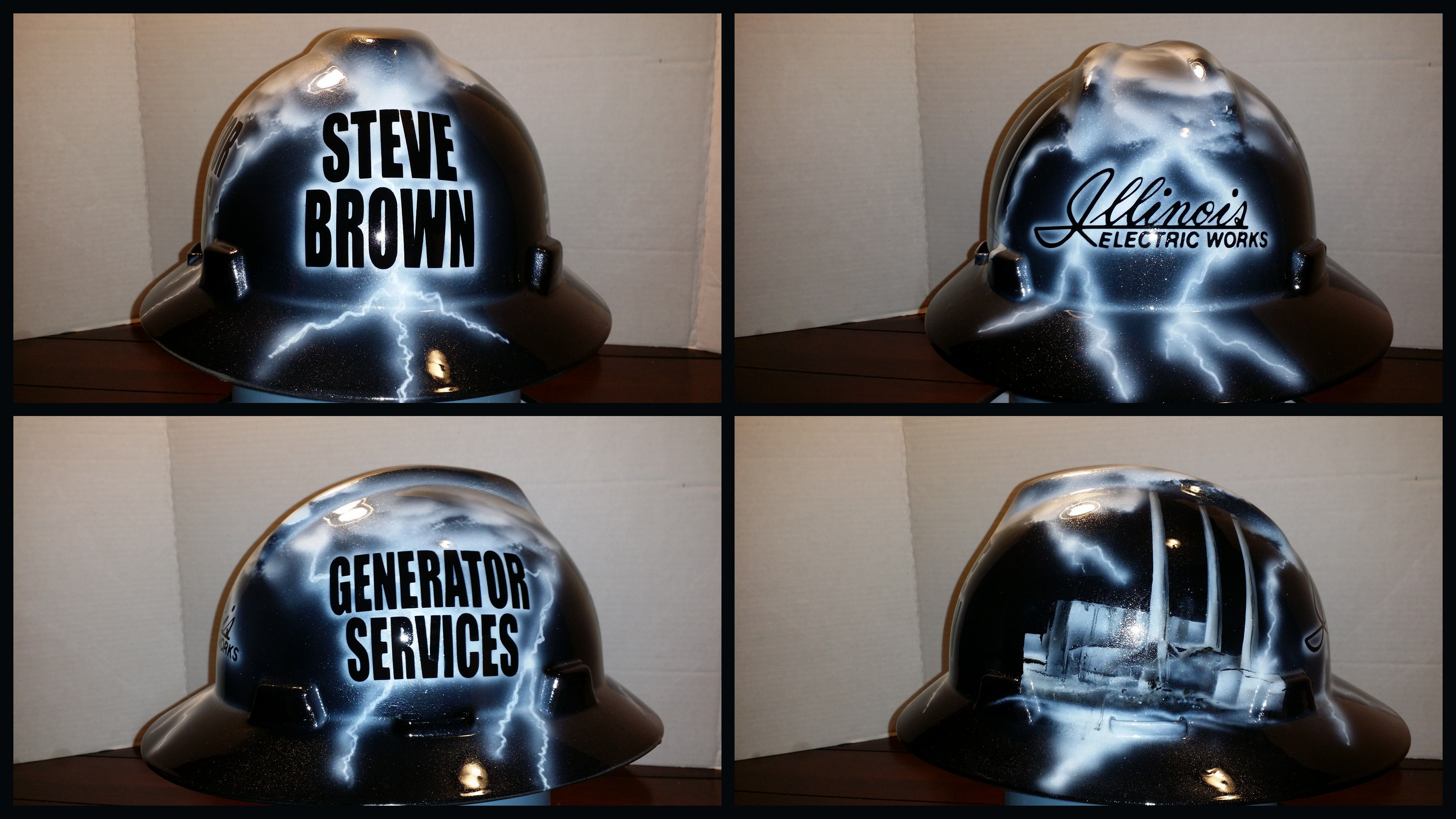 Custom hard hat Illinois Electric Works Generator Services