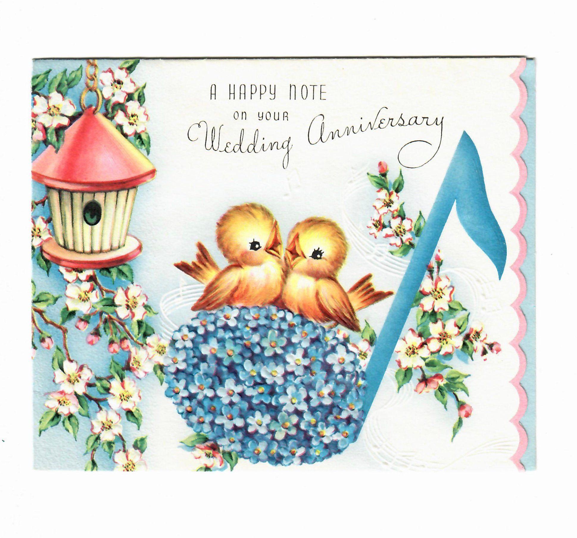 Vintage Unused Wedding Anniversary Greeting Card Happy Wishes Etsy Anniversary Greeting Cards Anniversary Greetings Wedding Anniversary Greeting Cards