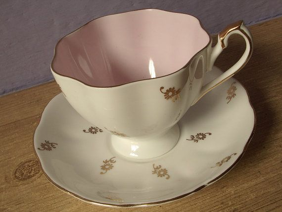 pastel pink tea cup and saucer Queen Anne vintage by ShoponSherman, $26.00