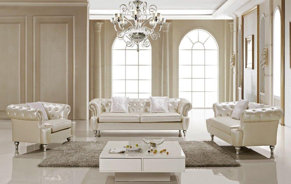 Ludovik Crystal Tufted Leather Sofa Set