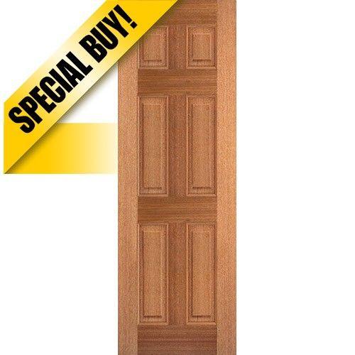 9505 8 0 Tall 6 Panel Mahogany Wood Door Slab