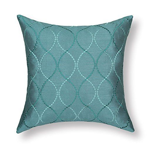 Elegant Euphoria Contempo Decorative Throw Pillow Cushion Covers Pillowcase Shell  Faux Silk Teal Waves Embroidery 18 Pictures Gallery