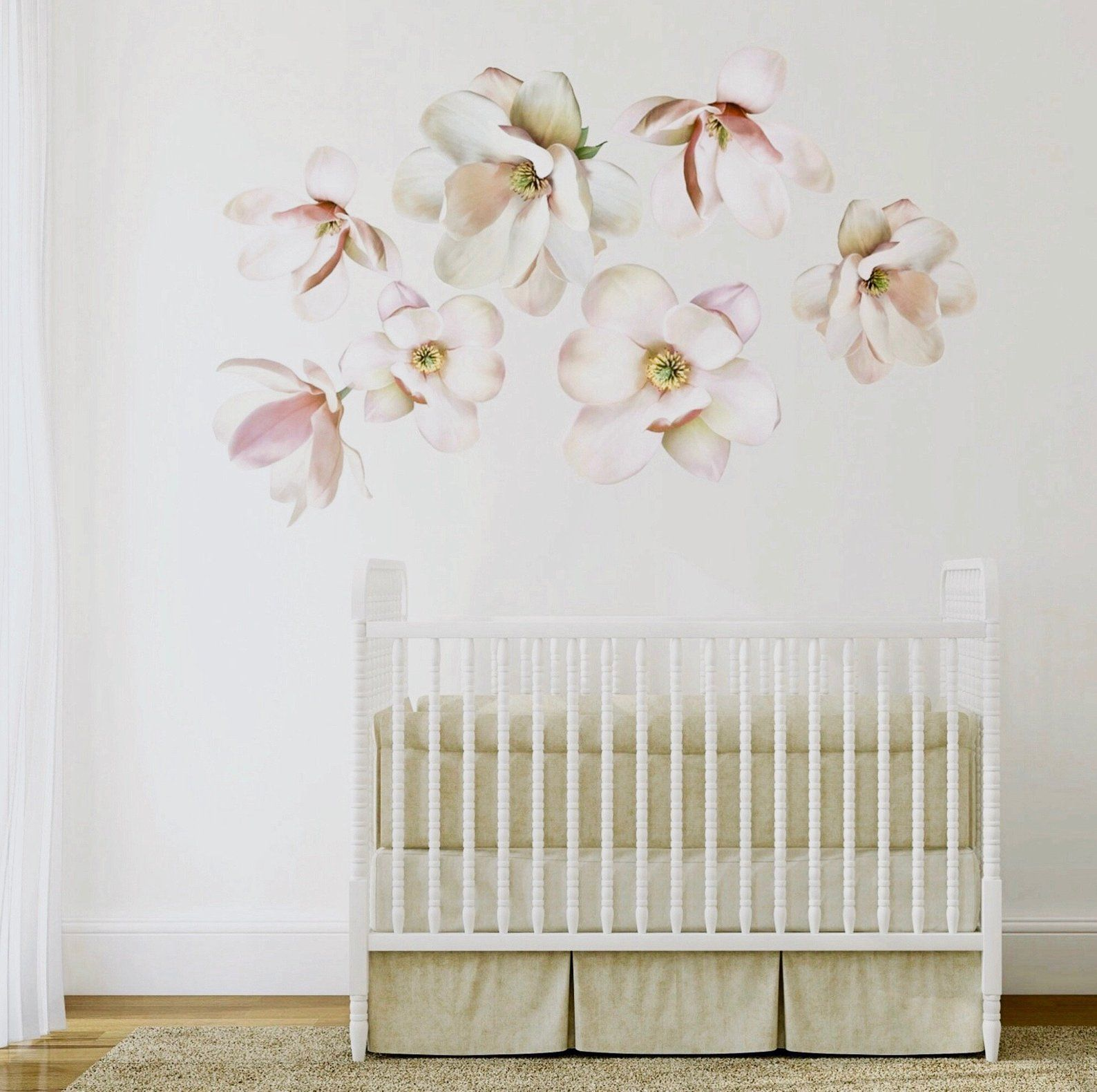 Large Magnolia Flower Wall Decals Large Set Of Eco Friendly Peel