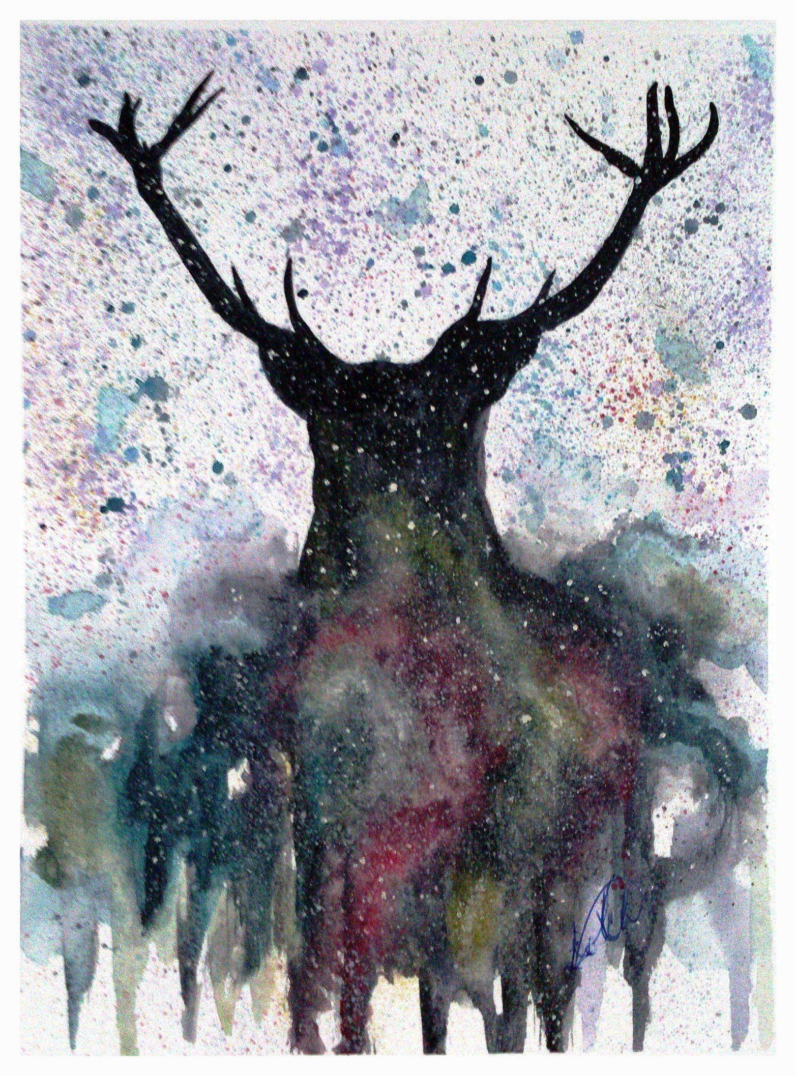 Galaxy Stag Watercolor Hirsch Aquarell Art Art Painting