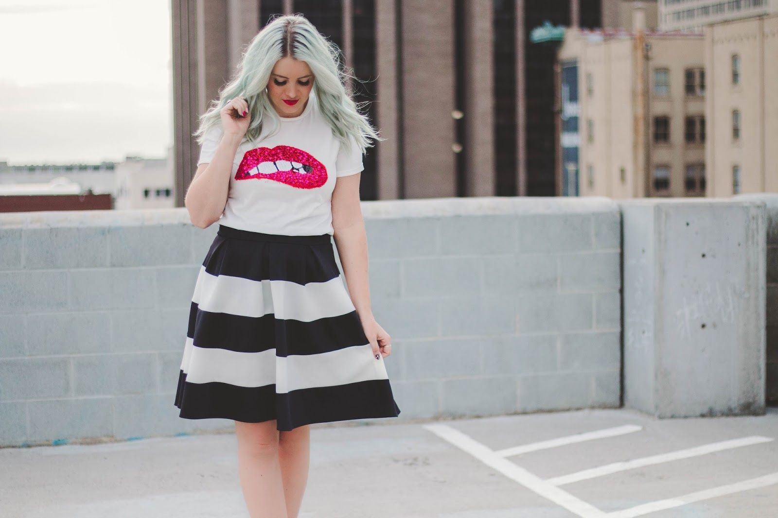 Lips shirt, striped skirt, mint hair and leopard heels. Spring outfit from www.theredclosetdiary.com