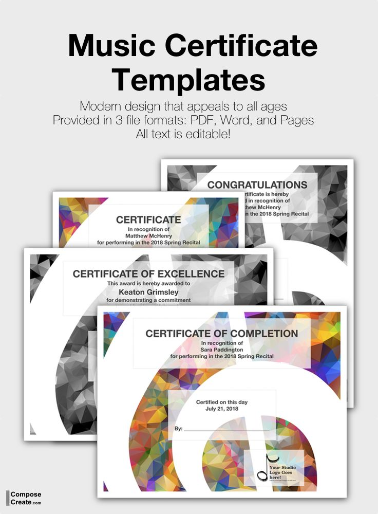 Modern Music Certificate Design That Appeals To All Ages Music