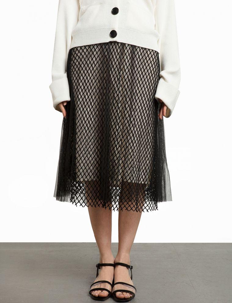Black Fishnet Organza Midi Skirt