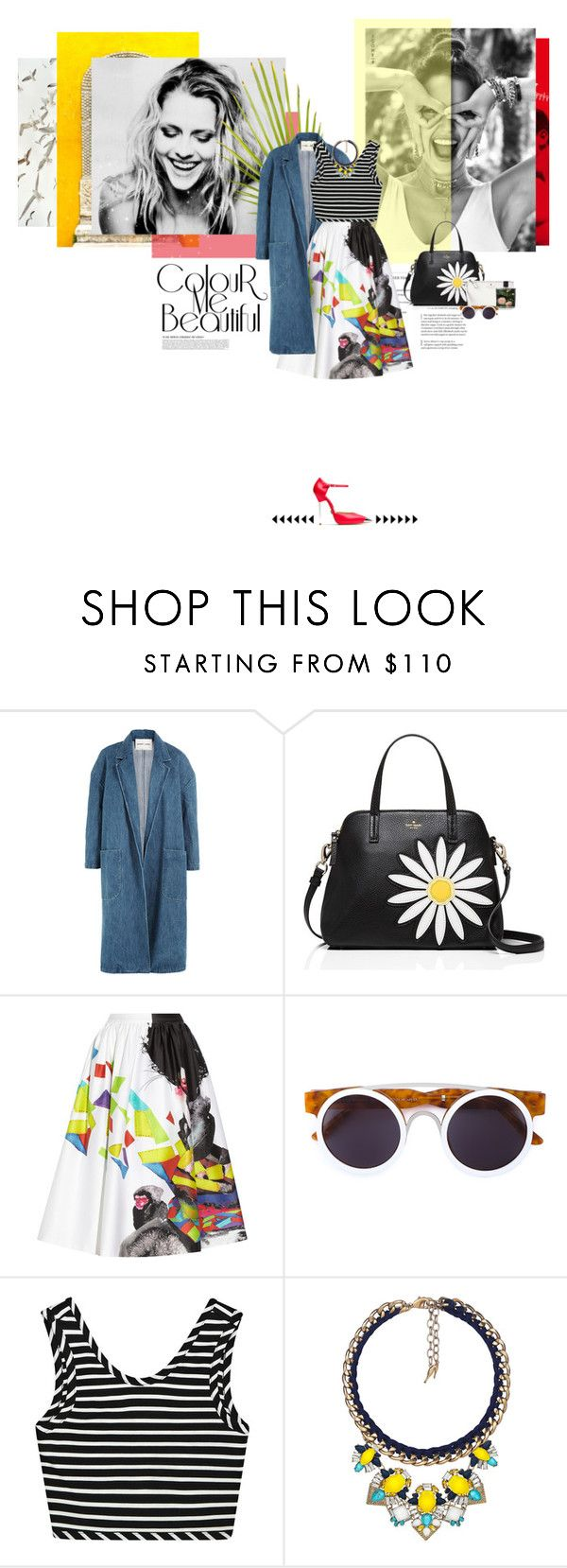 """amarillo"" by camimany ❤ liked on Polyvore featuring Sandy Liang, Kate Spade, Alice + Olivia, Smoke x Mirrors, Michael Kors, Chloe + Isabel and Nest Fragrances"