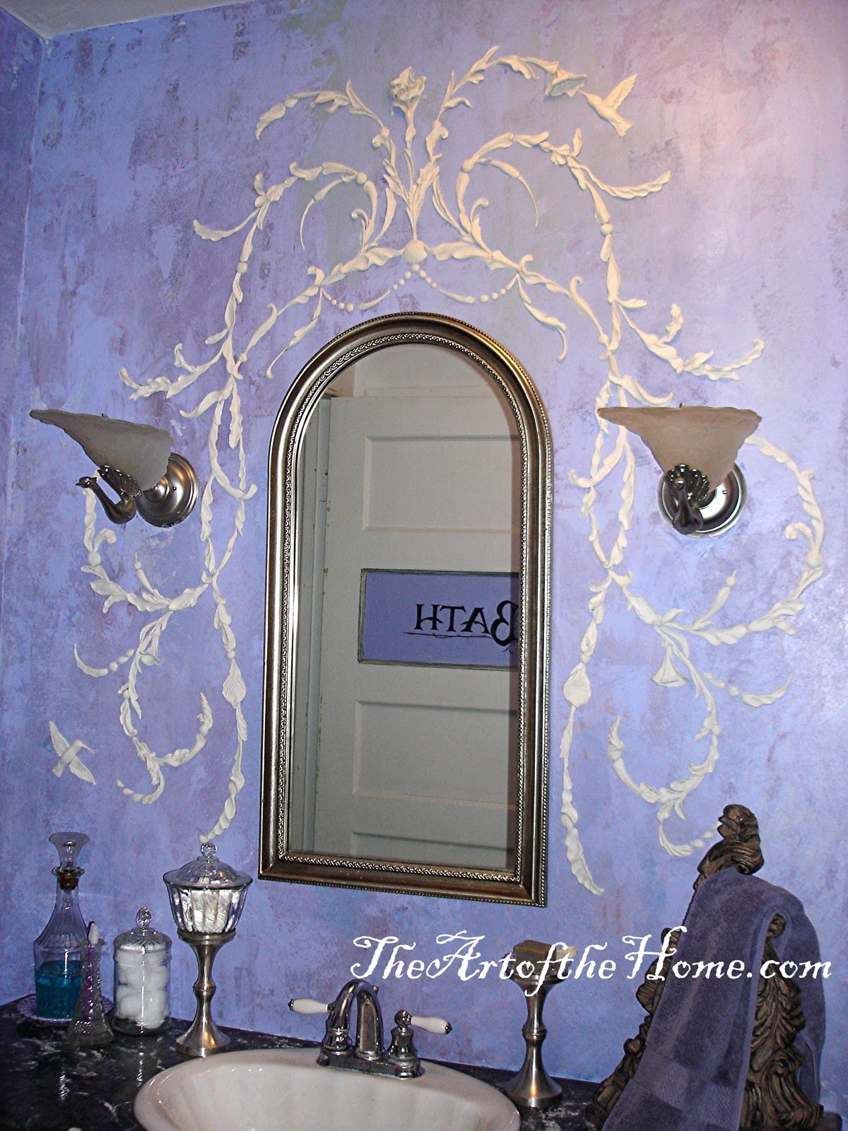 Periwinkle bathroom art pinterest stenciling peacocks and