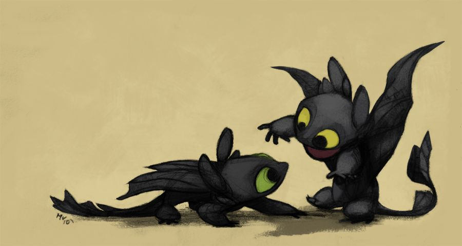 Baby Night Furies by ~sketchinthoughts on deviantART. Awww, they're so cute! :-D