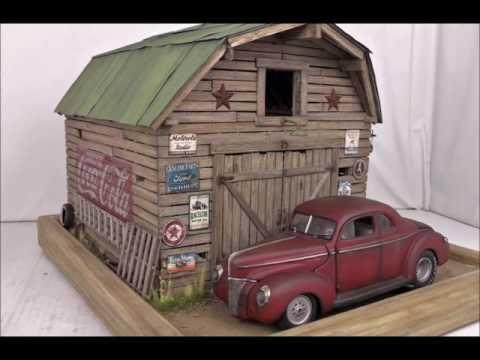 1:24 1940 Ford barn/garage/junkyard diorama For Sale on Ebay   Model