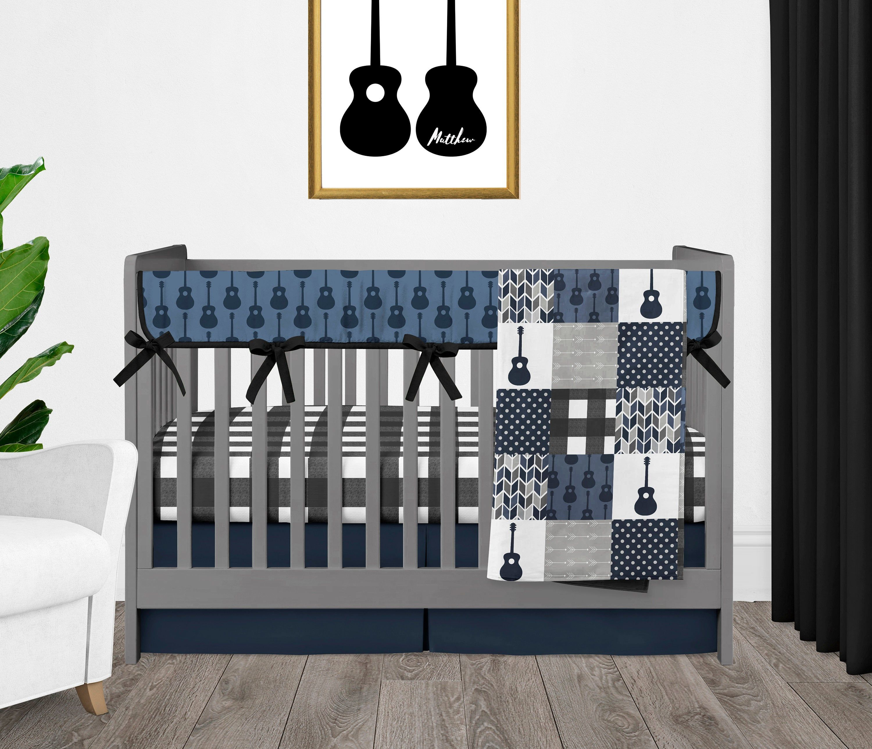 Crib Bedding Set Guitar Themed Baby Boy Nursery Blue Black Etsy In 2020 Baby Boy Crib Bedding Blue Nursery Boy Music Themed Nursery