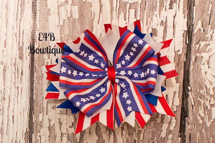 4th of July Stacked Bow  #America #Stars #Stripes #Bows