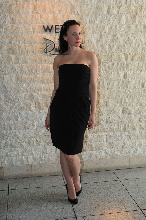 New look of the day: Black strapless minidress with Louboutin high heels