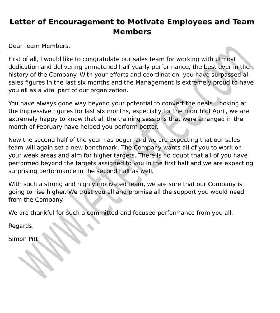Sample Letter Of Encouragement To Motivate Employees And Team