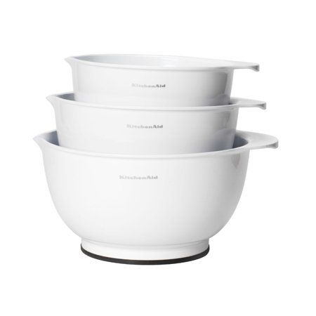 Kitchenaid Plastic Set Of 3 Mixing Bowls With Soft Foot In White Walmart Com Plastic Mixing Bowls Mixing Bowls Set Kitchen Aid