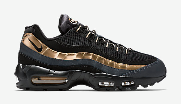 buy popular 32673 c5b7b Low-top runner with mixed material upper. Rubber sole unit with Air  cushioning. The Nike Air Max 95 PRM Metallic Gold ...