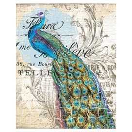 """Canvas print with a peacock and text motif.   Product: Wall artConstruction Material: CanvasFeatures: Peacock motifDimensions: 20"""" H x 16"""" W x 1.5"""" D"""