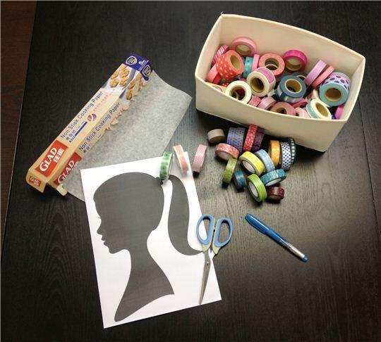Das braucht Ihr: Foto im Profil, Backpapier, Schere, Stift, Washi Tapes