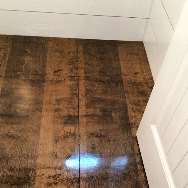 "Y'all, seriously...this floor in our powder room.  It was Plan Z for us. I wanted brick. I would still love brick or a tile that looks like it. However, with 4 little mouths to feed (some not so little anymore...hello teenage boy!), it just wasn't in the budget right now. But we were in the middle of our renovation. What do we do?  Then my husband comes home with cabinet grade plywood. It's 3/4"" sande plywood. I had never even heard of it. We thought it would just be a temporary fix until…"