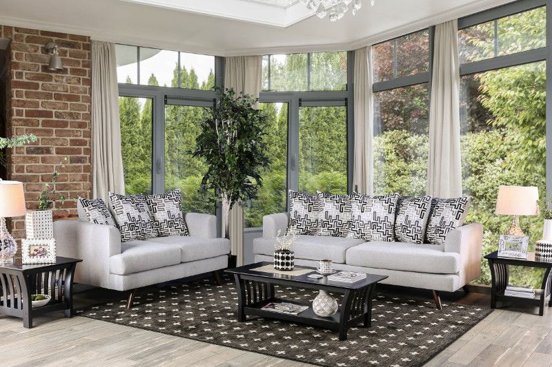 Sm8826 2 Pc Blaenavon Silver Chenille Fabric Sofa And Love Seat Set Fabric Sofa Sofa Set Outdoor Living Rooms