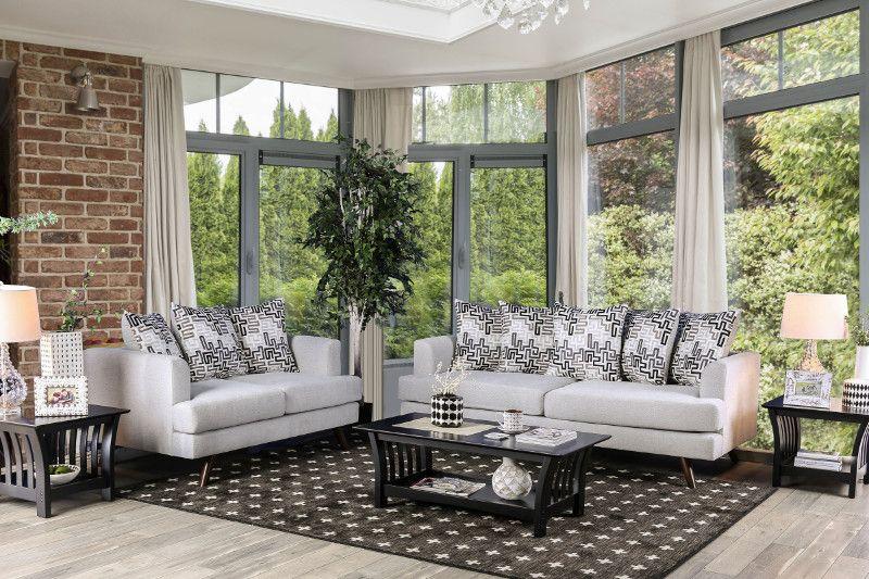 Sm8826 2 Pc Blaenavon Silver Chenille Fabric Sofa And Love Seat Set Fabric Sofa Sofa Set Outdoor Living Rooms