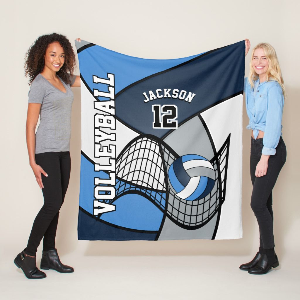 Volleyball Sport In Blue White And Gray Fleece Blanket Volleyball Sports Sport Fashion