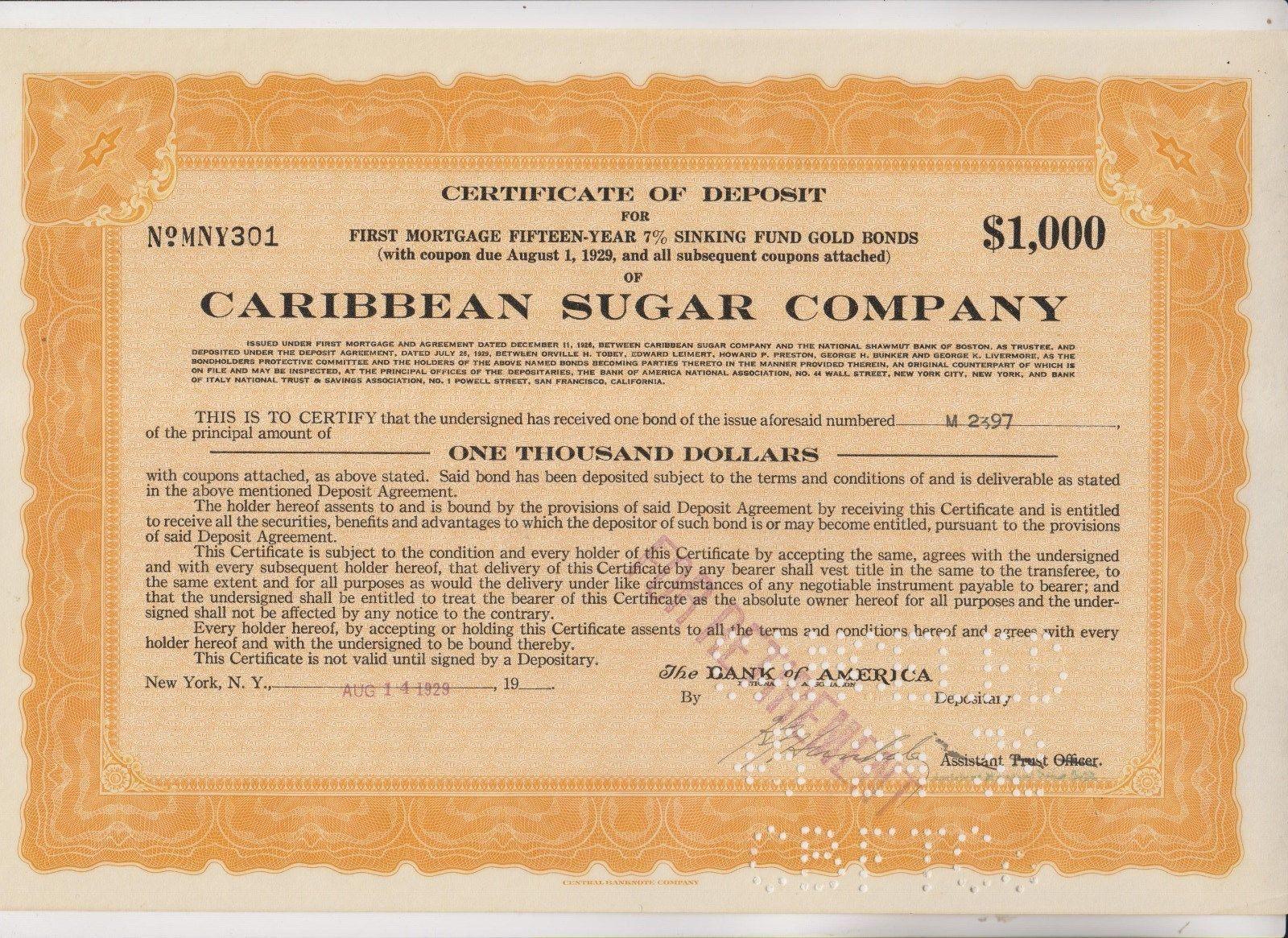 Vintage certificate of deposit caribbean sugar company cuba vintage certificate of deposit caribbean sugar company cuba 1betcityfo Images