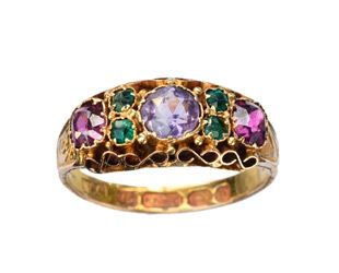 1876 English Victorian Amethyst, Garnet and Emerald Ring, 15K Gold : Erie Basin Antiques