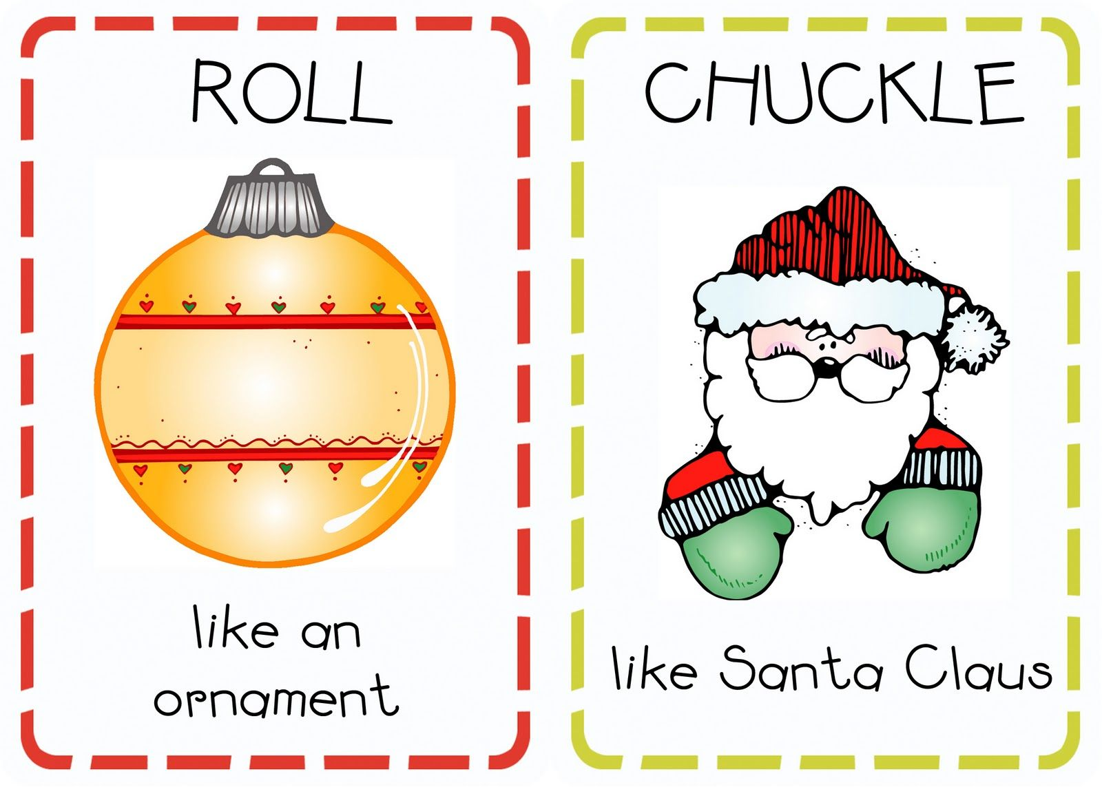 Christmas Action Cards Printables