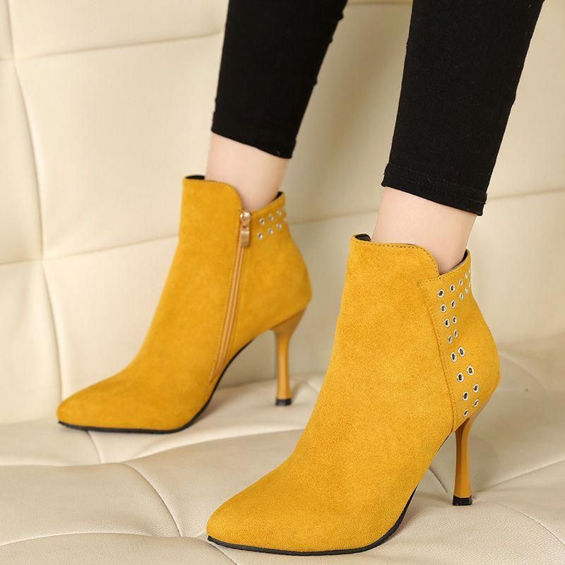 Plain Side Zipper Stiletto Heel Ankle Boots